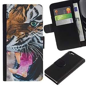KLONGSHOP // Tirón de la caja Cartera de cuero con ranuras para tarjetas - amar motivación acuarela púrpura - Apple Iphone 6 //