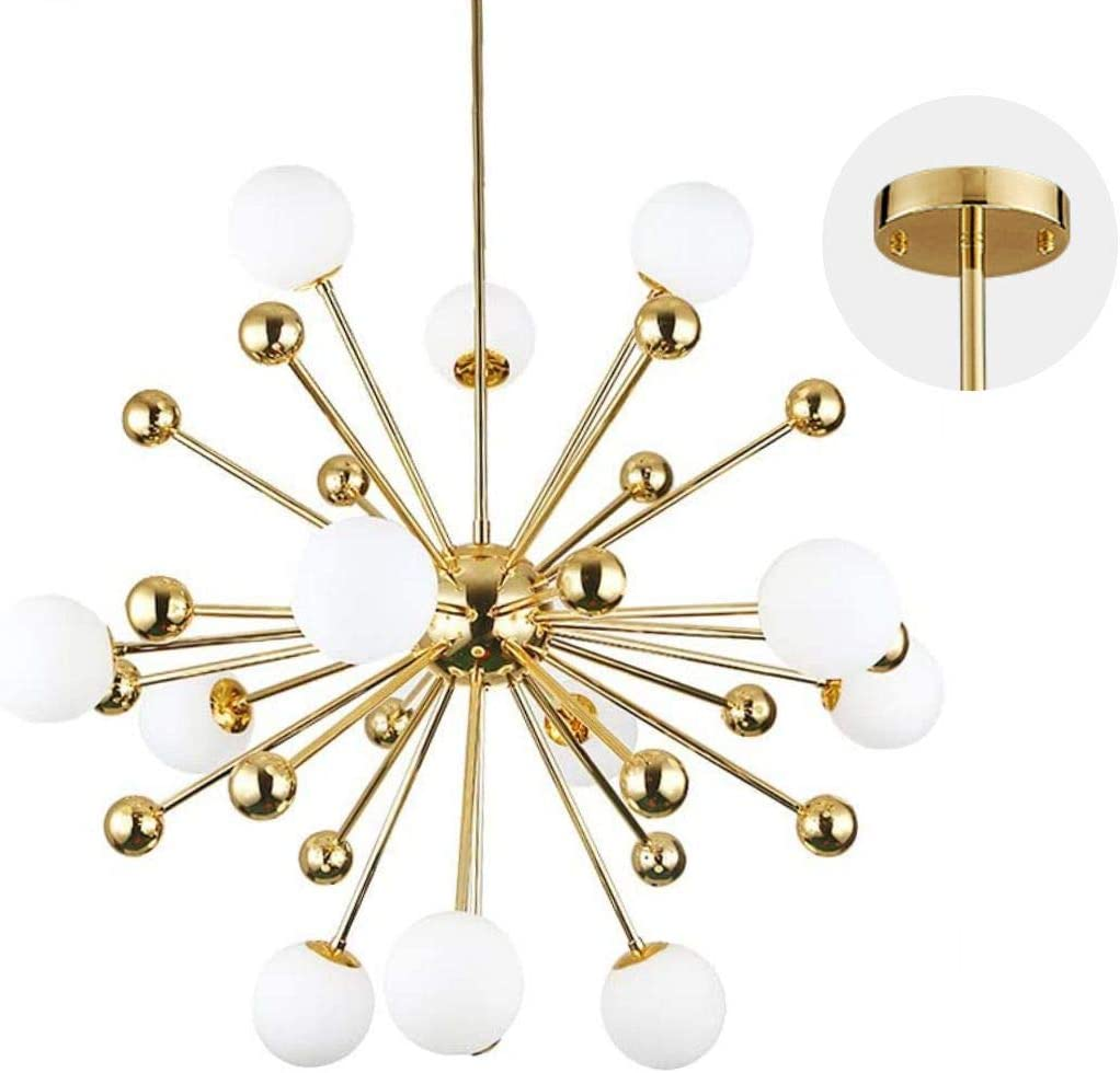 Modo Lighting Chandelier Lighting Fixture Gold Mid Century Pendant lamp, Frosted Glass Modern Ceiling Light Lining Room Dining Room. 12-Light
