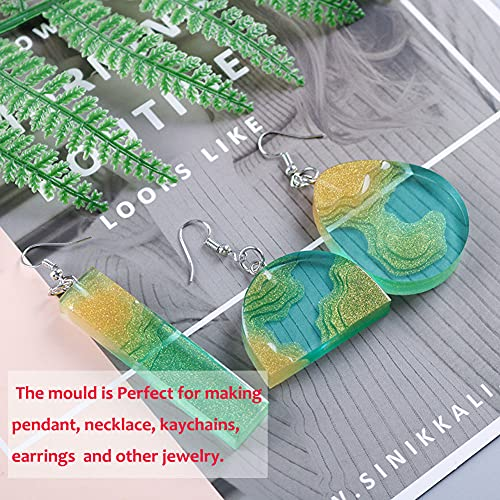 Jatidne 2pcs Resin Necklace Moulds for Resin Casting Silicone Pendant Moulds with Necklace Cord and Pendant Clip for Jewellery Making DIY Resin Craft Starter Kit
