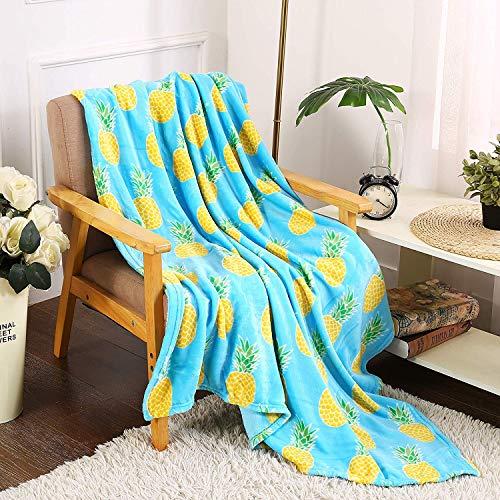 - Noble House Tropical Pineapple Throw Blanket Plush Fleece 50