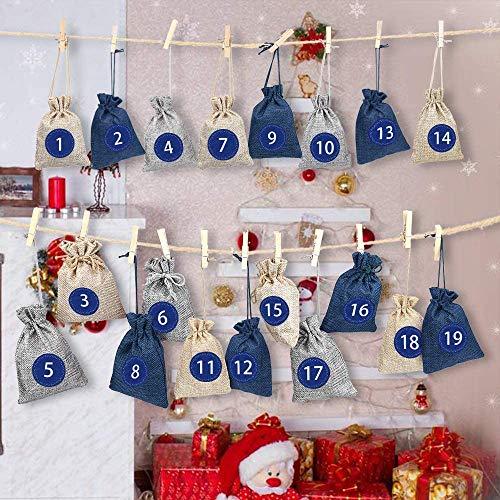 Calendario de Adviento para llenar Bolsa 24,Calendario de Adviento Navidad,Bolsa de Regalo Pequeña,Bolsas Pequeñas Navidad,Bolsitas de Tela Pequeñas, Bolsas de Yute para Rellenar con 1-24 Pegatinas
