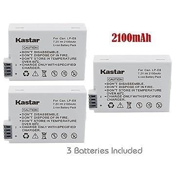 Amazon.com: Kastar y cargador de batería para Canon LP-E8 ...