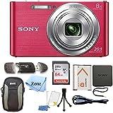 Sony DSC-W830 Cyber-shot 20.1MP Digital Camera + 64GB Memory Card & Accessory Bundle (Pink)