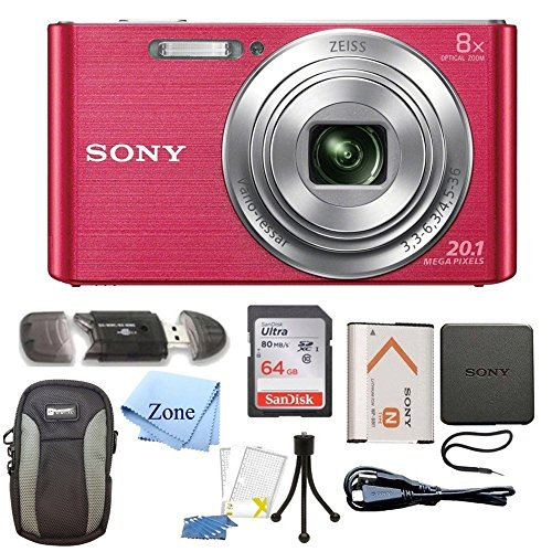 Sony DSC-W830 Cyber-shot 20.1MP Digital Camera + 64GB Memory Card & Accessory Bundle (Pink)
