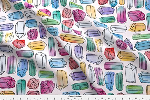 Logan Stone (Spoonflower Water Color Fabric Watercolor Gemstones (Large) by Logan Spector Printed on Performance Knit Fabric by the Yard)