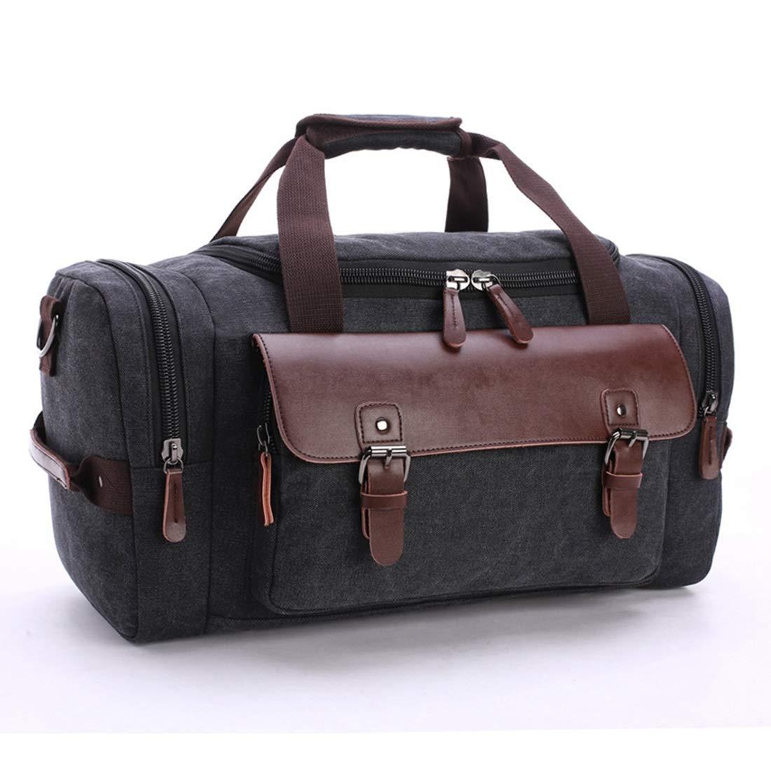 Color : Black Carriemeow Travel Bag Shoulder Messenger Hand Luggage Bag Large Travel Luggage Canvas Bag