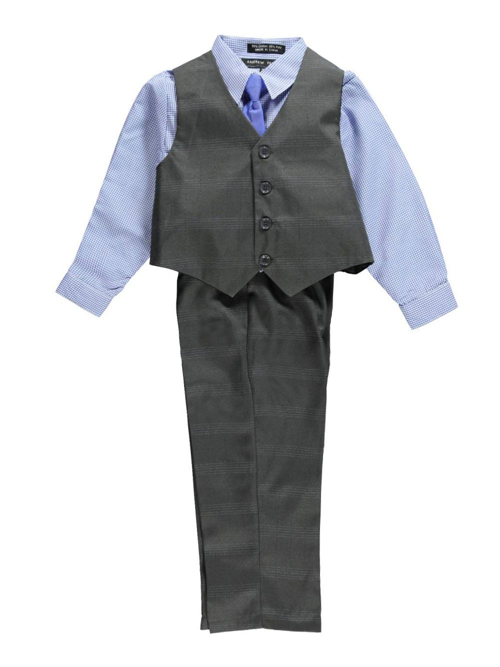 Andrew Fezza Big Boys' Norman 4-Piece Vest Set - charcoal gray, 10
