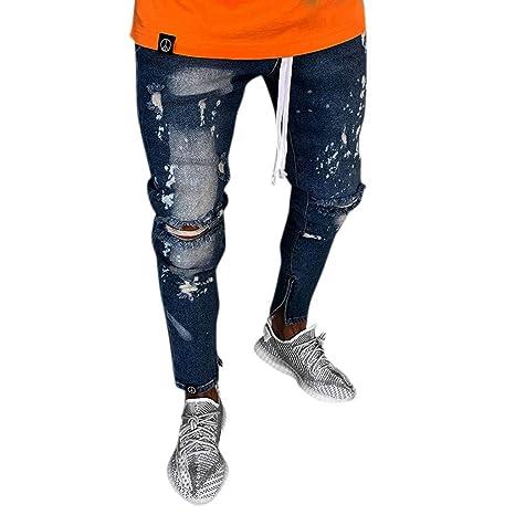 a8a709c8 Men Jeans Men's Ripped Slim Fit Straight Zipper Denim Pencil Pants Vintage  Motorcycle with Broken Holes