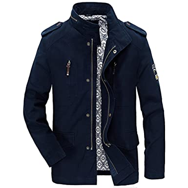 6e9f8b6ef Kedera Men's Cotton Stand Collar Lightweight Front Zip Windbreaker Jacket  (X-Small, Blue