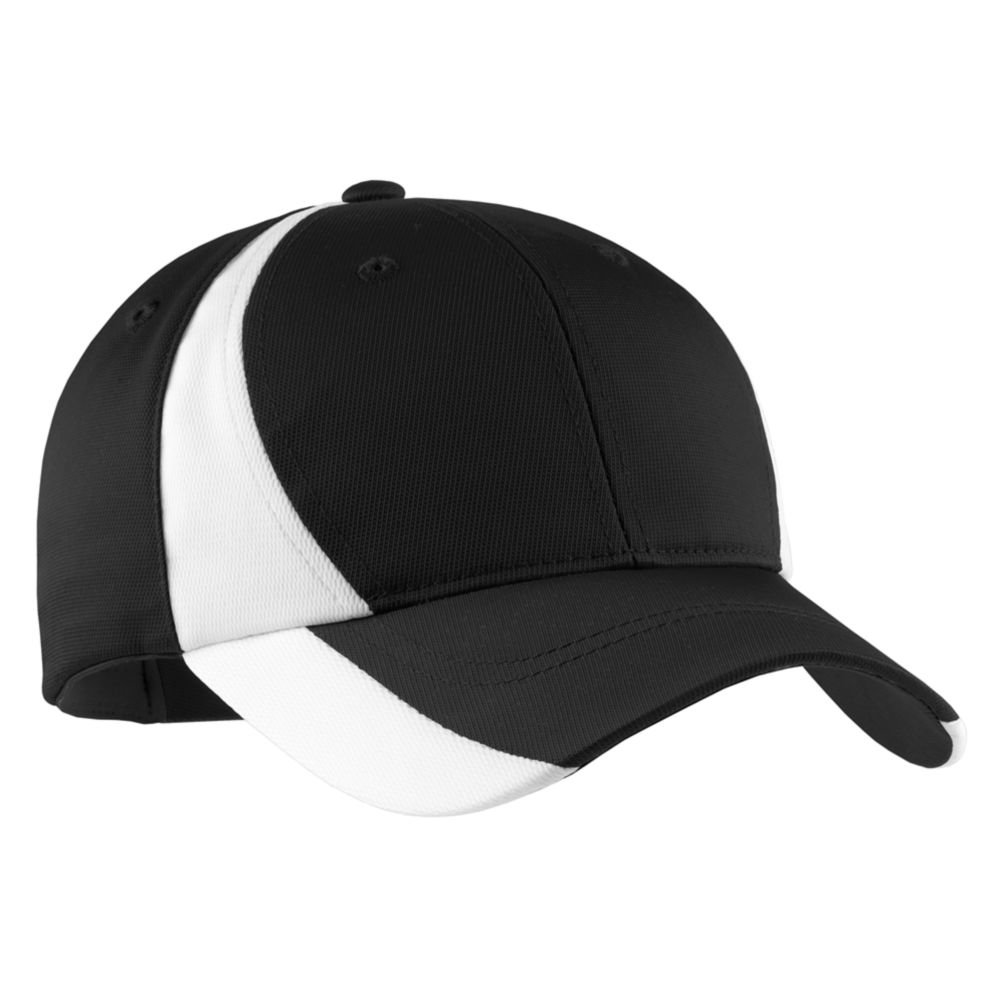 Sport-Tek Colorblock Performance Cap, OSFA, Black/White