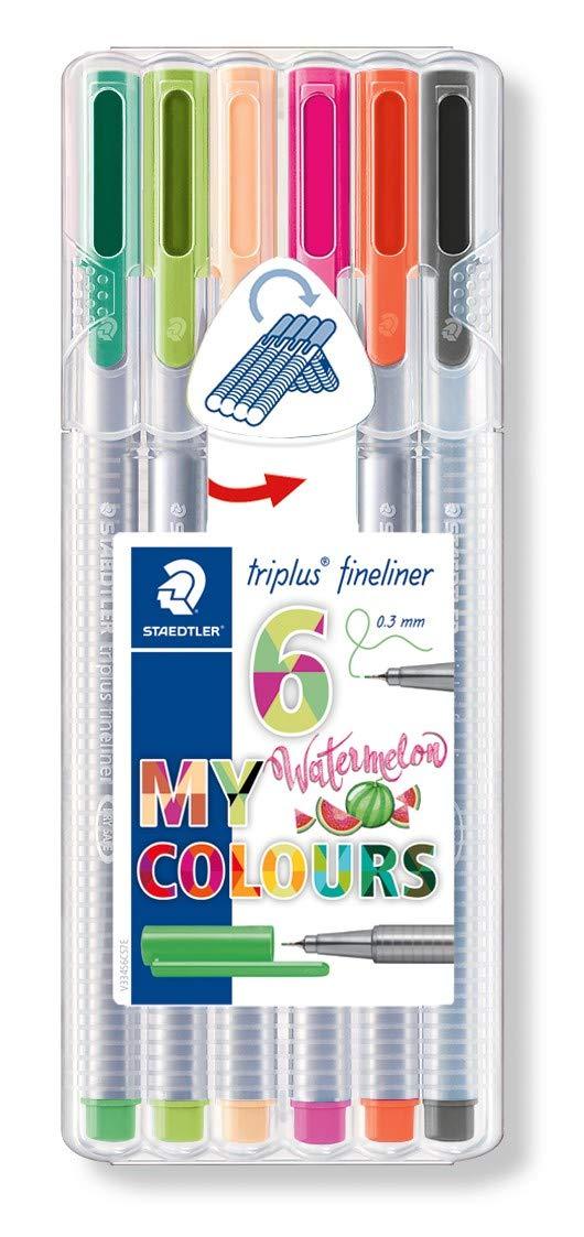Triplus Fineliner 334 Staedtler Box of 6 Felt-Tip Pens Superfine Tip 0.3 mm Assorted Colours