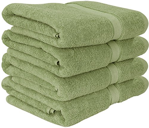 600 GSM Premium Bath Towels Set - Cotton Towels for Hotel and Spa, Maximum Softness and Absorbency by Utopia Towels (4 Pack) (Sage Green) (Green Towel)
