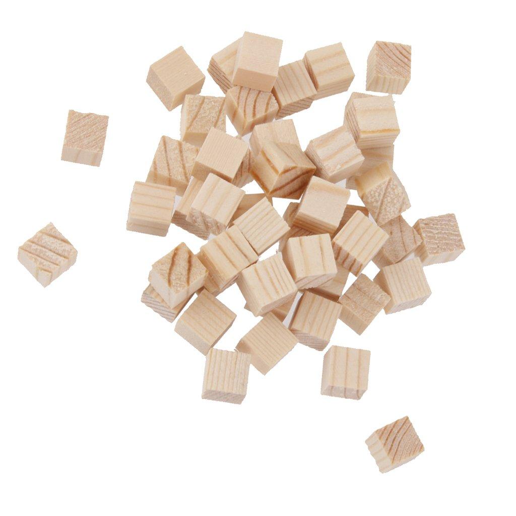 dailymall 50PCS Wooden Blocks Bundle Set Pine Wood Natural Bricks Scrapbooking Craft