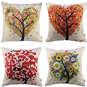 HOSL P71 4-Pack Cotton Linen Sofa Home Decor Design Throw Pillow Case Cushion Covers Square 17.5 Inch (Set of 4 Tree Series)