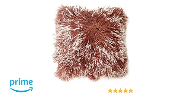 Funda para cojín Tíbet piel de cordero 40x40cm ¡Una amplia gama de colores! JYB11 color marrón / blanco (Tops)