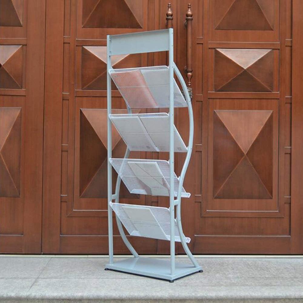 Office-Magazin Bodenst/änder Malseite Prospektst/änder 4-Layer-Mesh-Korb Eisen Regal Off-White L19.7xW12.6xH55.9in