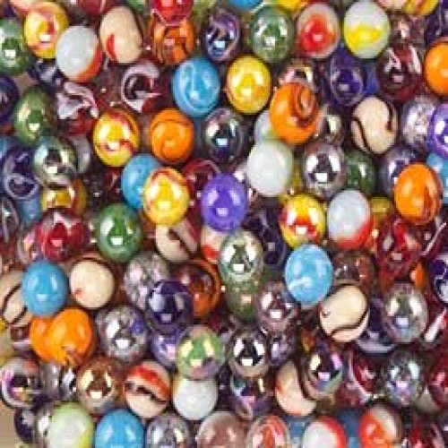 Mega Fun 1/2 Inch Peewee Marbles, Set of 24 Assorted Styles and Colors Mega Marbles