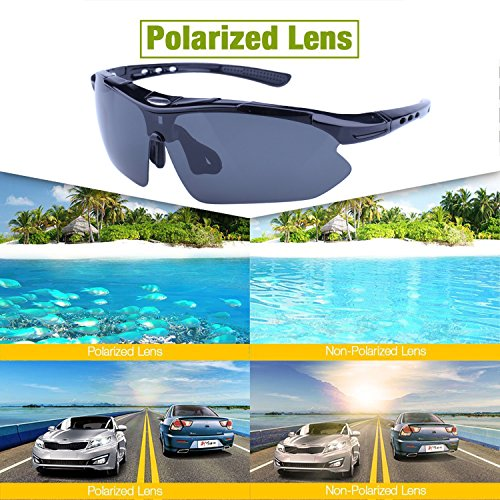 Polarized Sports Sunglasses for Men Women Cycling Running Driving Fishing Golf Baseball with Tr90 Unbreakable Frame,5 Interchangeable Lenses