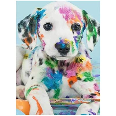LeePakQ DIY 5D Diamond Painting Kits Dog Paint with Diamonds Kits Full Drill Puppy Diamonds Art Kit for Kids Adults, 12×16 inches Rainbow Puppy