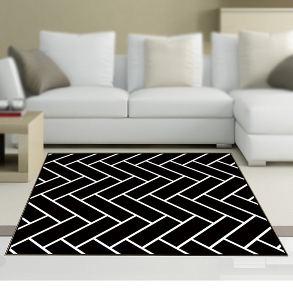 Black and white fashion simple home decoration carpet / personalized living room bedroom coffee mat mat / door mat / bedside carpet / yoga mat ( Size : 140200cm )