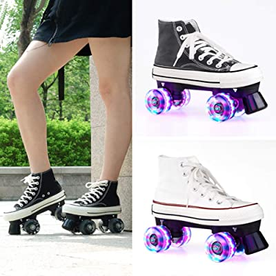 Skates with 4 Wheels Unisex Children's Adult for Men and Women Deformation Skating Shoes,Black,37: Home & Kitchen