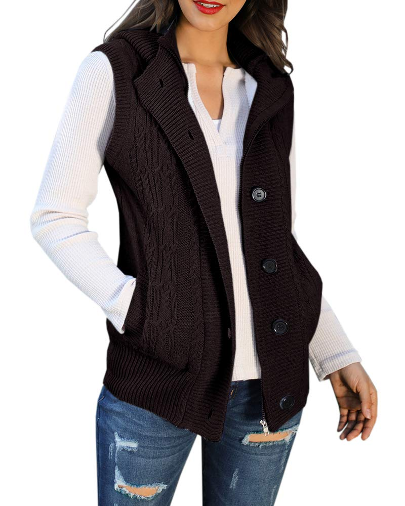 YOMISOY Womens Cardigan Sweater Hooded Vest Cable Knit Sleeveless Button Down Outerwear Coat with Pockets by YOMISOY