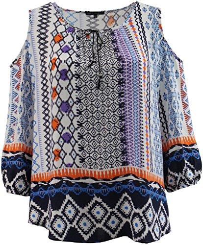 Women's Plus-Size 3/4 Sleeve Cold Shoulder Tee Shirt Top Multi 1X G160.20L
