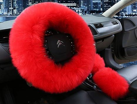 amazon com universal 3 in 1 furry steering wheel cover wool furuniversal 3 in 1 furry steering wheel cover wool fur handbrake cover fit most car red