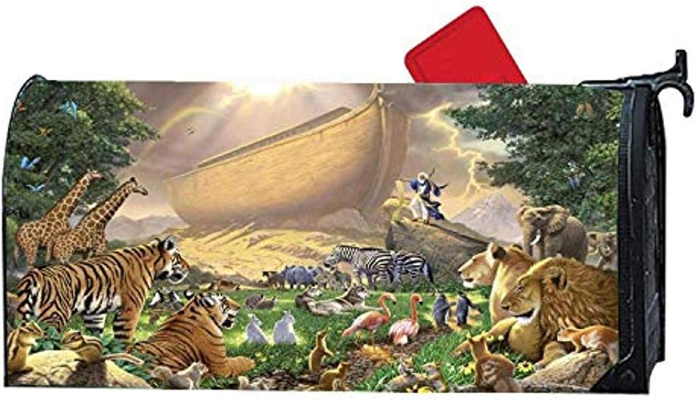 Diuangfoong Noahs Ark Animals Land Magnetic Mailbox Cover Home Garden Cute Mailbox Wraps Vinyl with Full Surface Magnet On Back