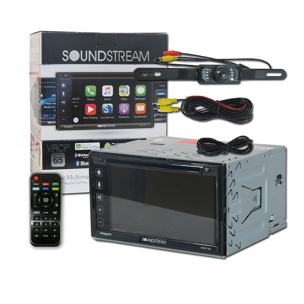 Soundstream Vrcp 65 Double Din 2 62 Apple Carplay 75 Dodge Truck Wiring Harness Kit Dvd Mp3 Cd Receiver Bluetooth Siriusxm Ready Remote And Dco Back Up Camera Night
