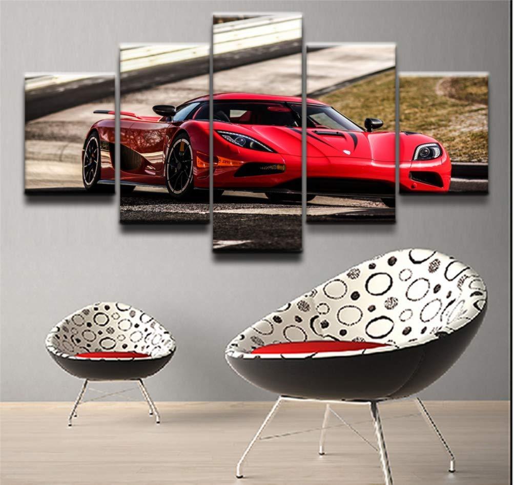 Leinwand Poster Wand Kunst Wohnkultur Rahmen 5 Stücke Koenigsegg Gemälde Für Wohnzimmer HD Drucke Rotes Auto Sp xuongrui