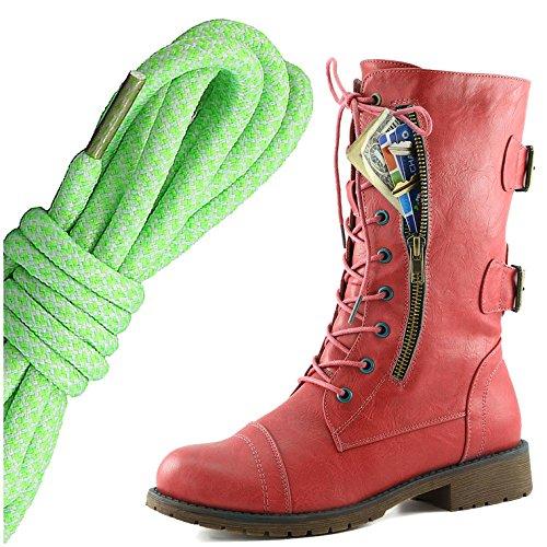 Dailyshoes Damesschoen Met Militaire Veter Gesp, Mid-knee High Exclusieve Creditcardzak, Lime Wit Elegant Rood