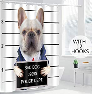 EARVO Funny Dog Shower Curtain Bulldog Portrait Shot Wanted Bad Boy Gangster Prison Humor Fabric Bathroom Decor Accessories with 12 Hooks Waterproof Cloth 72x72 inches EADS781-72