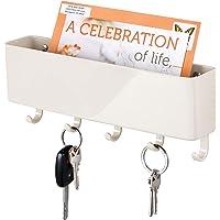 mDesign - Sleutelrek - sleutelorganizer/sleutelhouder - met plastic postbakje/modern/wandmodel - crème