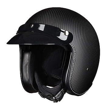 DGEG Casco de la motocicleta, casco abierto adulto de la fibra de carbono del casco