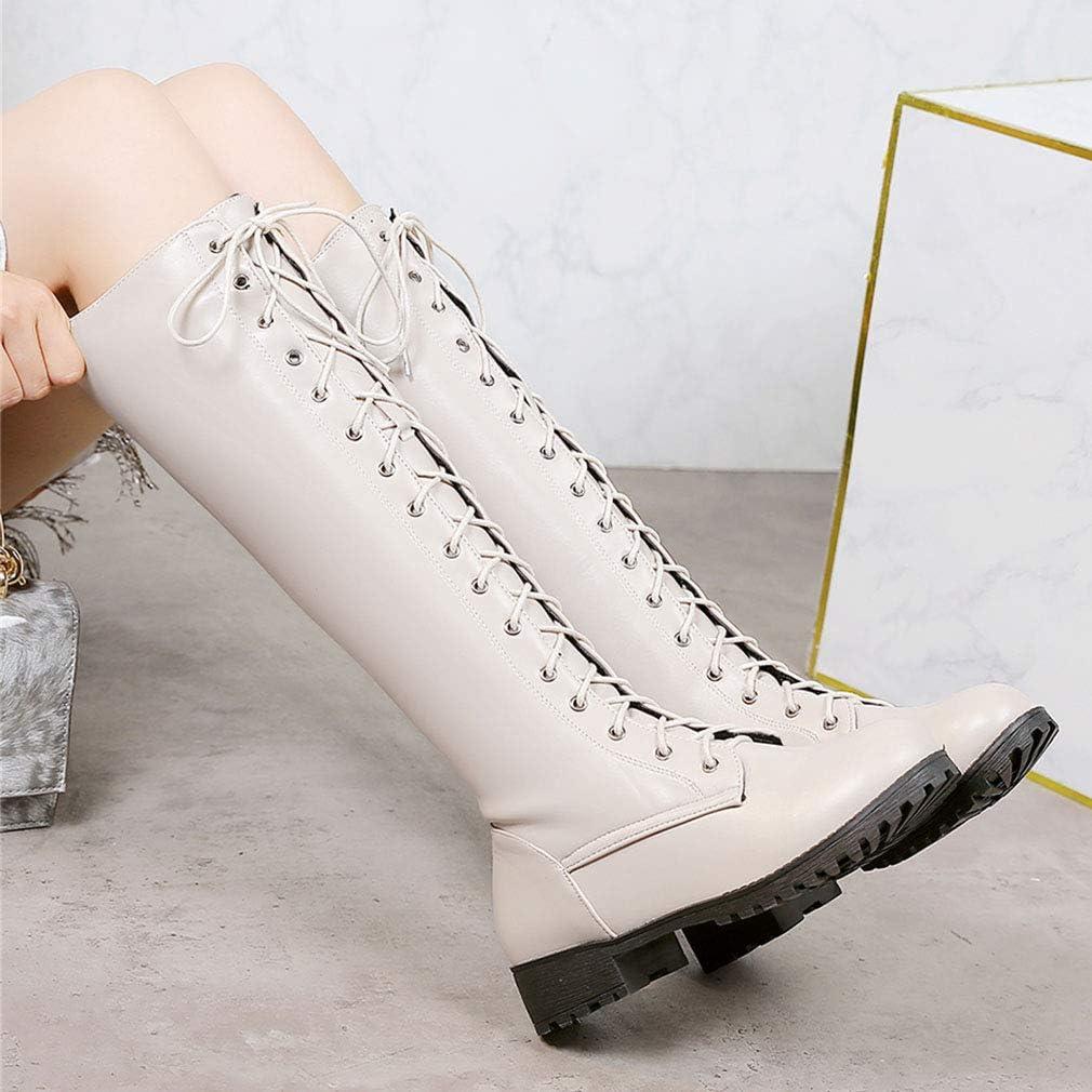 LOVOUO Mode Botte Genoux Lacet Femme Militaire Haute Plate Knee High Wide Calf Lace Up Boots de Combat Chaussure Hiver
