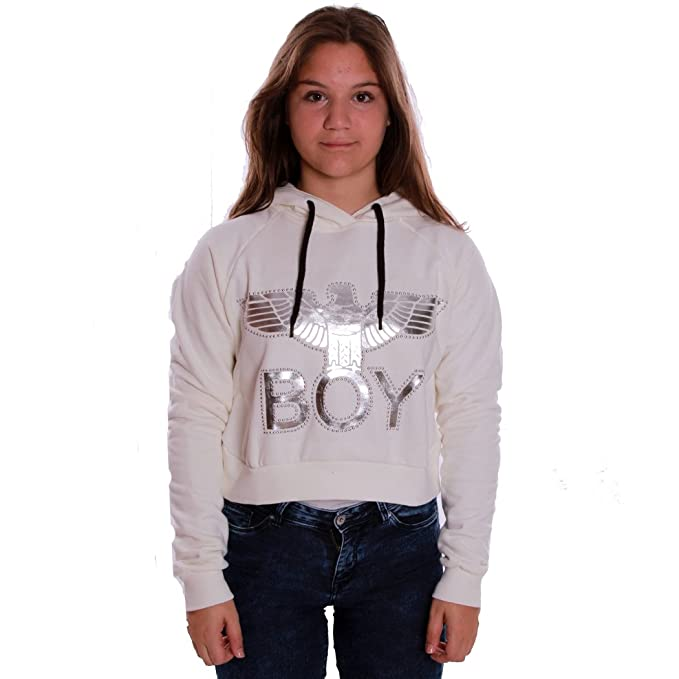 BOY LONDON FELPA MAGLIA DONNA GIRL RAGAZZA CORTA CAPPUCCIO LOGO ARGENTO BL819