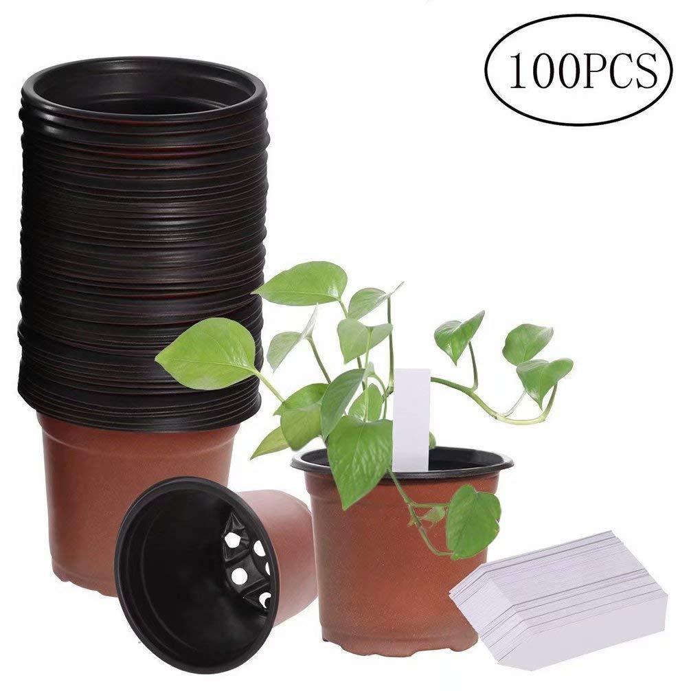 100 Packs 4 Plastic Flower Seedlings Nursery Pot//pots,100 PCS Waterproof Plastic Nursery Garden Labels Plant Tags