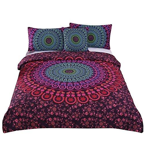3 Pcs Mandala Bedding Posture Million Romantic Soft Bedclothes Plain Twill Boho Bohemian Duvet Cover Set Twin Size (1 Duvet Cover with 2 Pillow Shams) ()