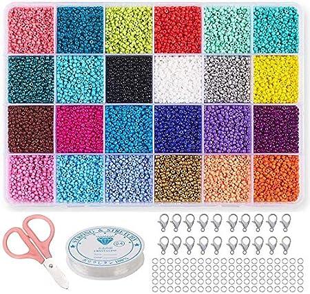 Mini Cuentas de Cristal,Collares Bolas de Colore,Bolitas Cuentas,Cuentas para Collares,Perlas de Vidrio,DIY Pulseras,Cuentas de Colores (2mm)