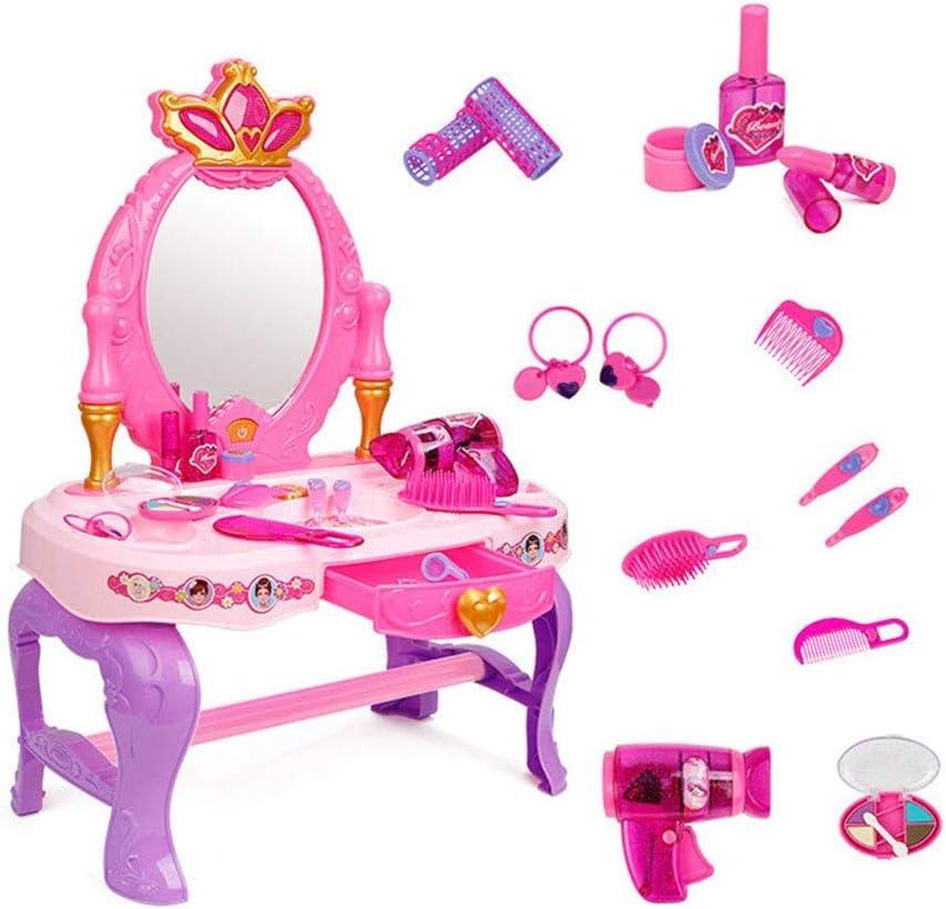 子供用化粧台 子供たちは家のシミュレーションガール多機能ドリームドレッサーのおもちゃを再生します 女の子のドレッシングに適しています (Color : Pink, Size : 60.5x29.5x43cm)