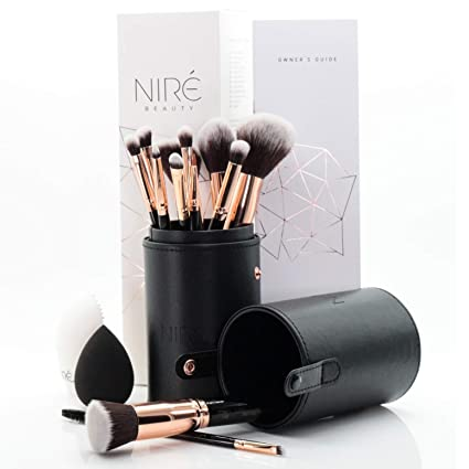 Niré Brochas de Maquillaje con Esponja Maquillaje, Estuche y Limpiador de Brochas