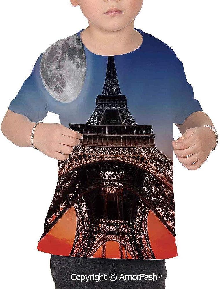 PUTIEN Eiffel Tower Decor Decor Childrens Short Sleeve Cool T-Shirt,Polyester,Full Moo
