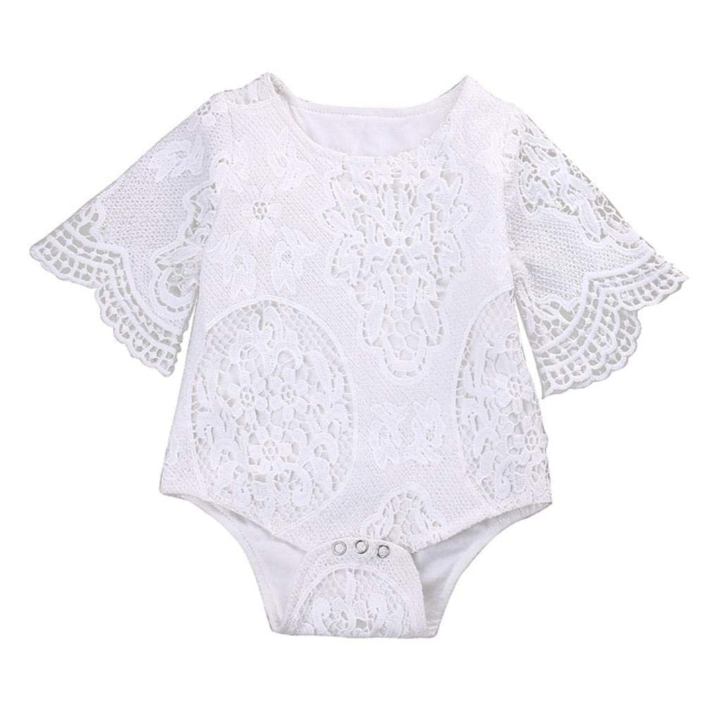 Cute Baby Girls White Lace Ruffles Sleeve Romper Infant Lace Jumpsuit Clothes Sunsuit Outfits