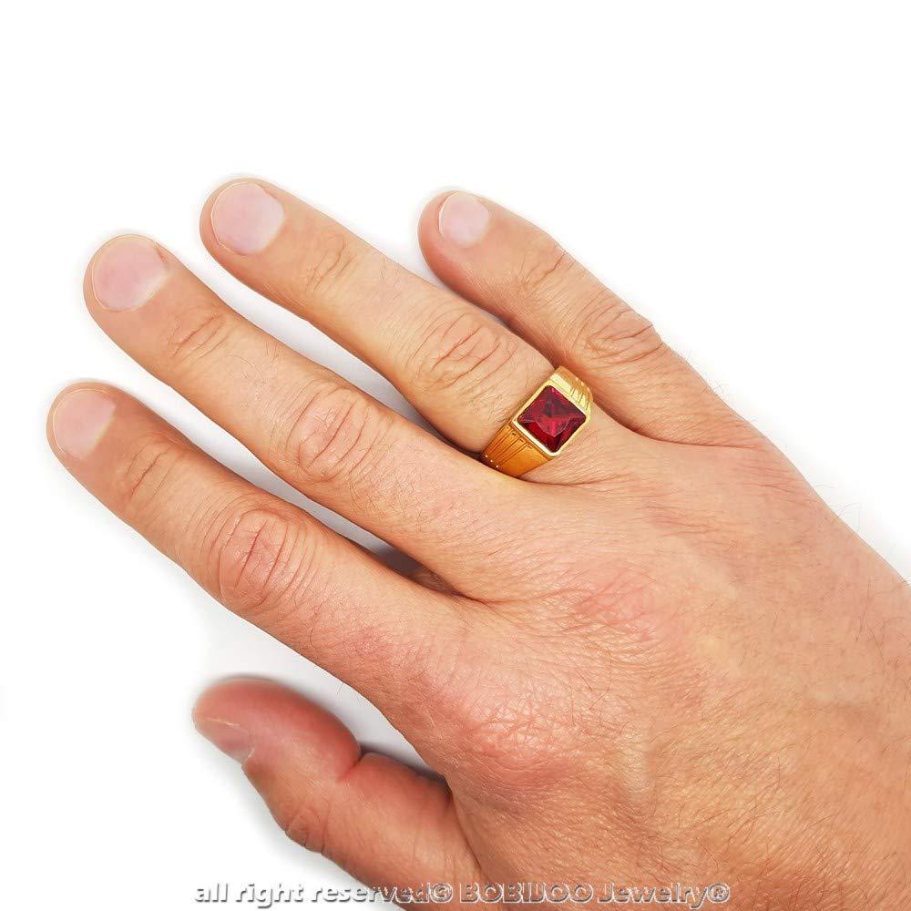 Bague Chevali/ère Discr/ète Homme Gitan Forme Carr/é Acier Dor/é Or Fin Plaqu/é Rubis BOBIJOO Jewelry