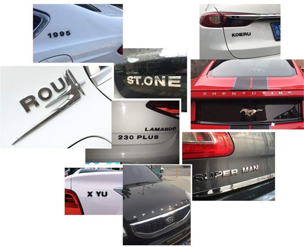 Silver, Number: 1 Fully 4.5CM//1.77 DIY Letters Alphabet Number Symbol Charm 3D Metal Car Auto Emblem Letter Badge Decal