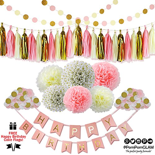 Complete Pink Gold Party Decorations Kit with BONUS Happy Birthday Cake Topper Flags By PomPomGLAM