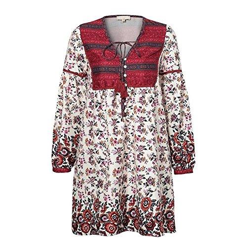 JUNHONGZHANG Blaumendruck Kurzes Kleid Frauen Boho Strand Maxi Kleid Sommer Kleid Langes Kleid mit V-Ausschnitt, Schaltfläche B07DVFVCML Freizeit Für Ihre Wahl