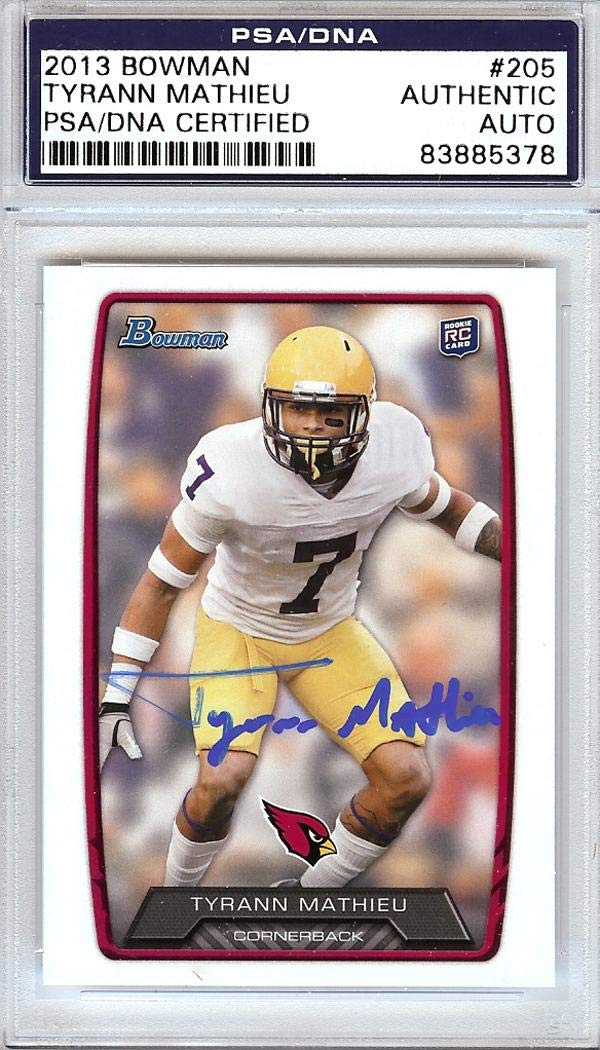 Tyrann Mathieu Autographed 2013 Bowman Rookie Card  205 Arizona Cardinals   83885378 - PSA DNA Certified at Amazon s Sports Collectibles Store 3183a1643