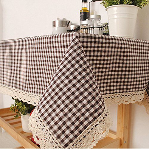 (ColorBird Perfect Picnic Inspired Checkered Heavy Weight Tablecloth Cotton Linen Fabric Macrame Table Top Home Accent (55 Inch x 55 Inch, Coffee))